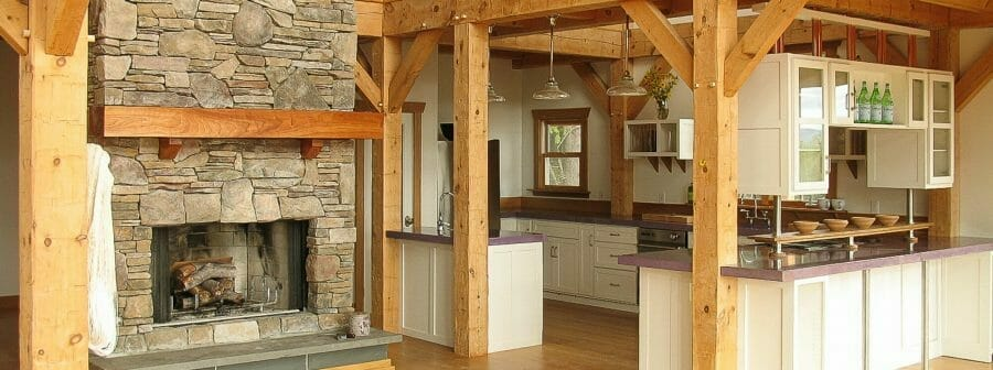 Hand Hewn Beams in Barn Style Home Kitchen. Jupiter Barn Kitchen