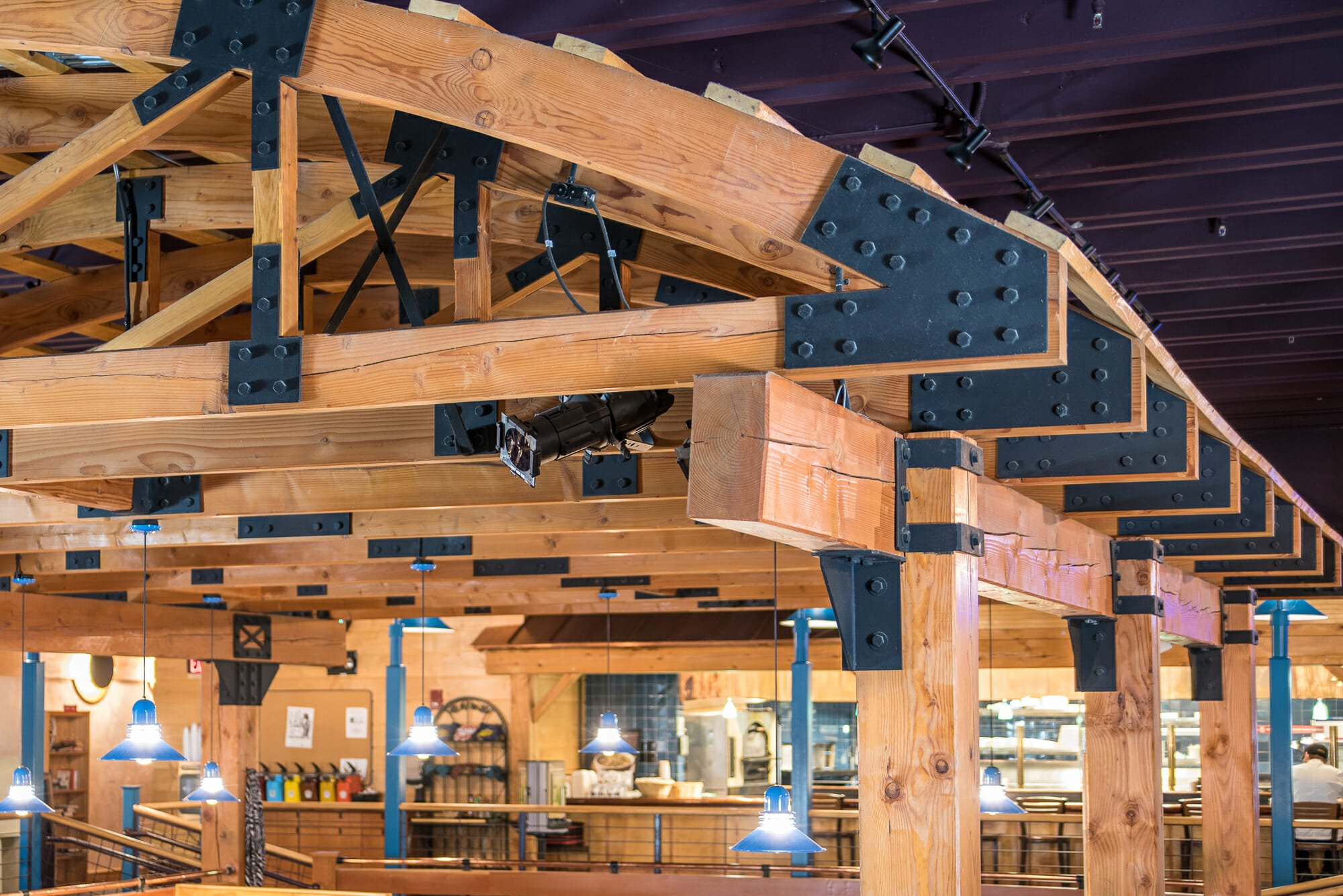 Middlebury college student dining hall steel joinery and steel connectors