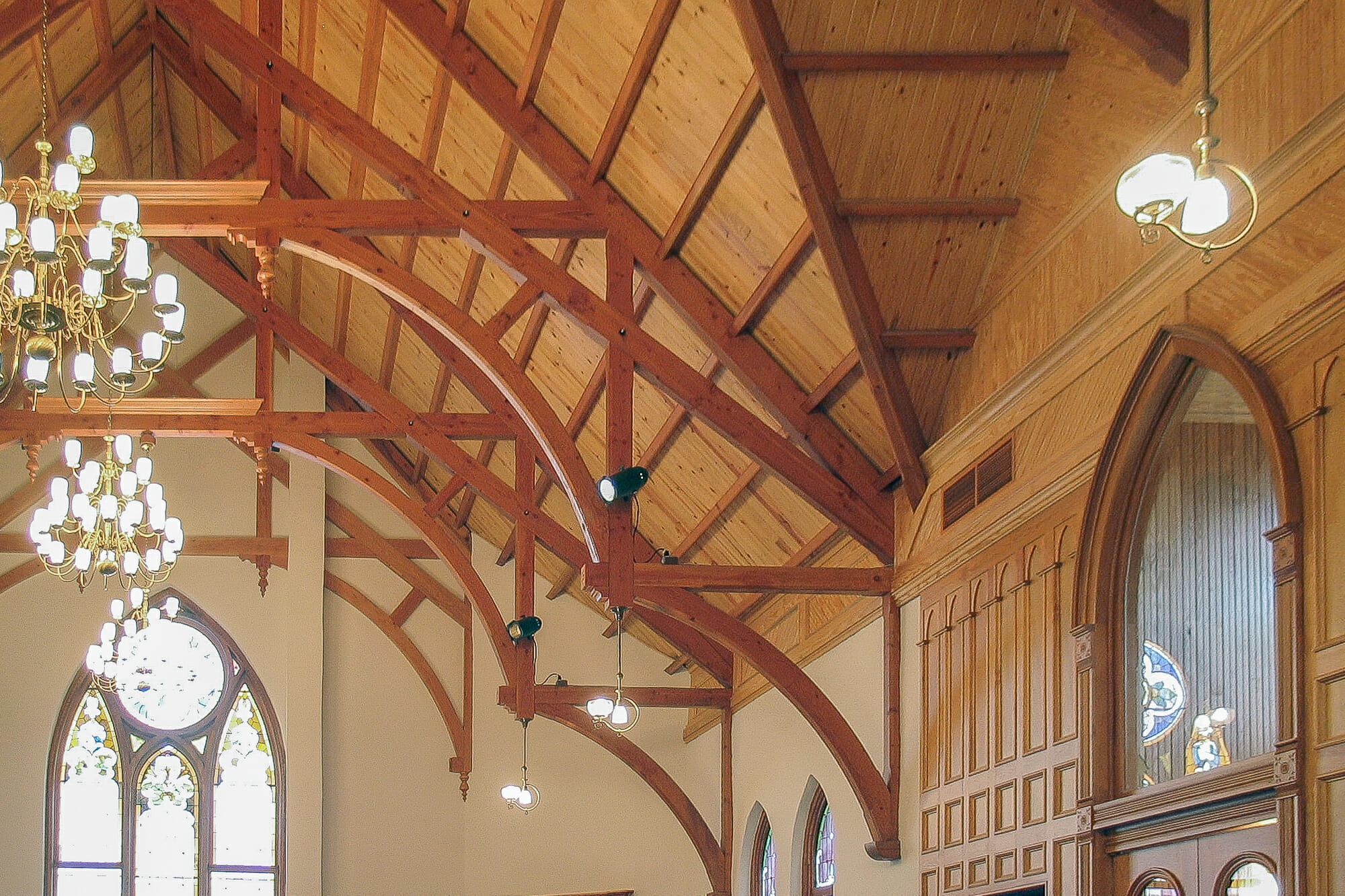 Timber Trusses in the First Presbyterian Church in Navasota Texas