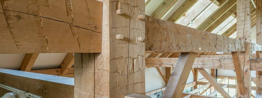 Hand Hewn Pine Posts and Beams in the Southern Vermont Welcome Center