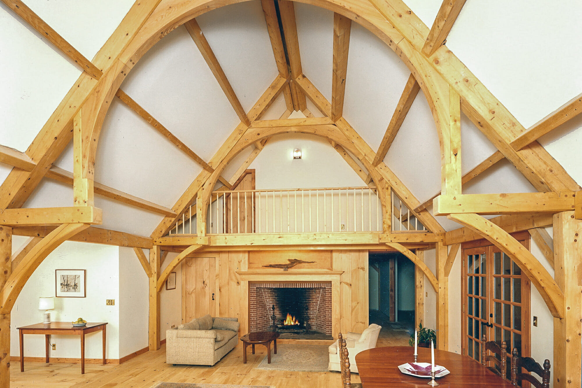 Main House - A beautiful hammer beam truss that is buttressed by conventional framing (not seen).