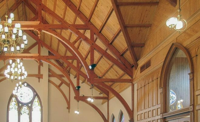 Modified Hammer Beam Trusses for a Cathedral Church Ceiling in the First Presbyterian Church.