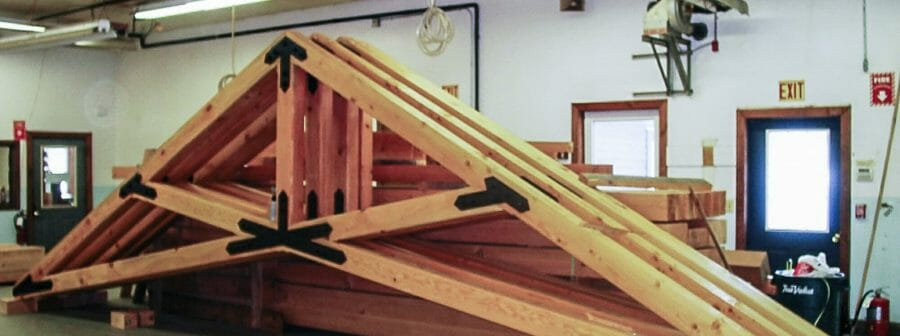 Fabricated Scissor Trusses with steel plates in the Workshop for Grace Episcopal Church