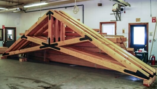 Fabricated Scissor Trusses in the Workshop for Grace Episcopal Church