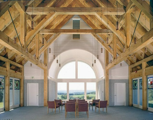Pine And Hemlock Timber Frame in the Vermont Veterans Chapel