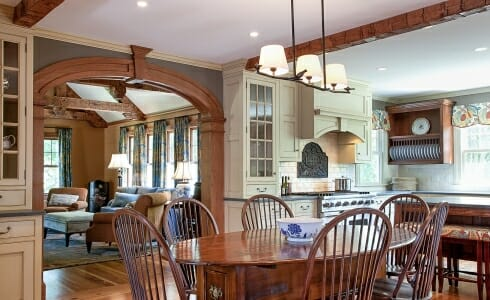 Timber Frame kitchen with exposed beams in Adams, MA. Devine Residence kitchen.