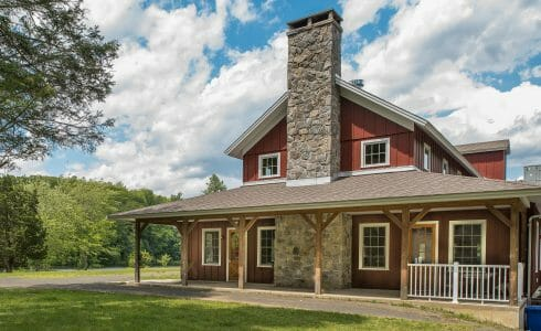 Post & Beam Dining Hall Exterior with Porch