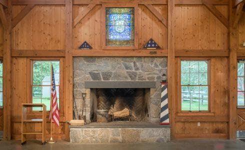 Stone Fireplace in the interior of the Deer Lake Dining Hall
