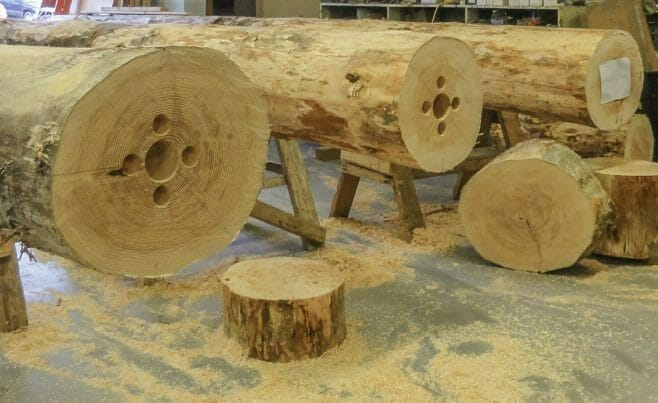 Douglas Fir Poles for Nemacolin Ski Lodge in the Vermont Timber Works Shop