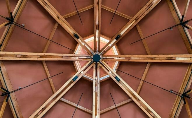 Octagon Timber Frame Ceiling Detail in the Spruce Peak Base Camp in Vermont