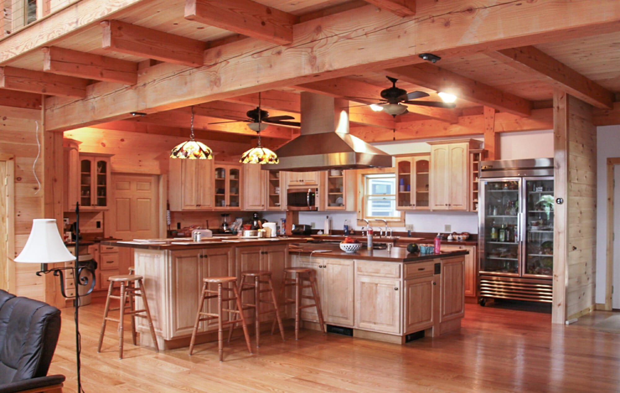 Large post and beam frame with ceiling beams in Wakefield, NH