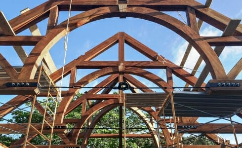 The raising of the Hamanasi Resort Arches in Belize