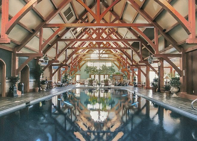 Breed Estate Indoor Pool house with modified hammer beam trusses