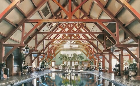 The Breed Estate Indoor Timber Frame Pool House with Trusses