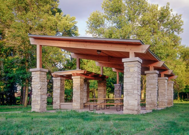 Timber Frame Picnic Shelter with stone post bases at Citizen's Park in Barrington, Illinois