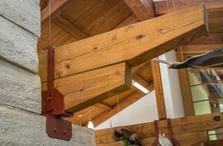 Steel and Timber detail in the interior of the Sams Point Visitors Center in Upstate NY