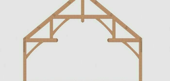 3D Rendering of a Hammer Beam style Timber Frame