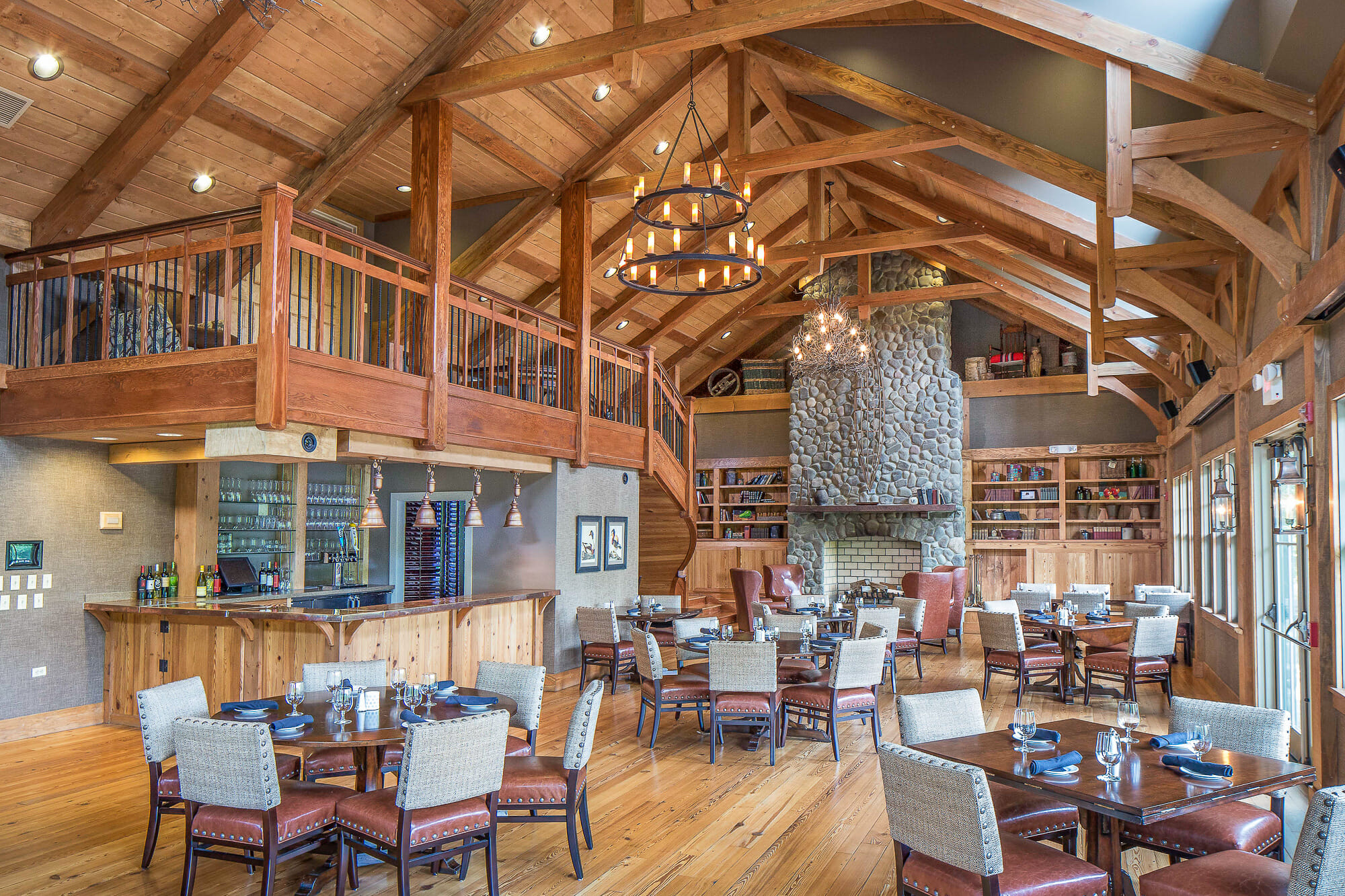 Decorative Timber Frame Trusses in the restaurant in a golf club in south river