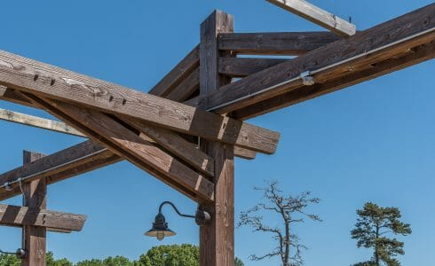 Details of the timber joinery at the camp adventura loading platform in Six Flags NJ