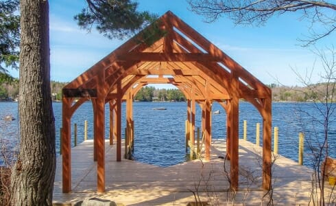 Timber Frame Boat House on Lake Sunapee in New Hampshire