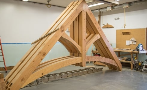 Timber Arched Trusses Assembled