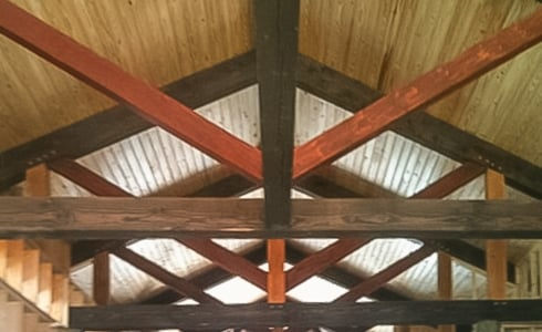 King Post Trusses in a Timber Frame Home