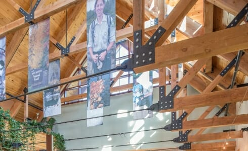 Trusses with Connecting Plates and Tension Rods in the White Mountain Forest Headquarters