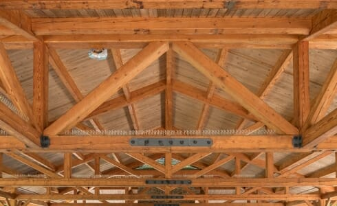 Timber Frame Trusses with steel connecting plates