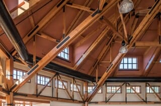 Timber Trusses with Steel Ties at the Spruce Peak Base Lodge in Stowe VT