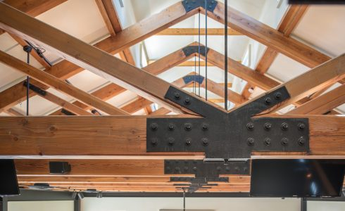 King Post Trusses with Steel Plates in the LaGrua Art Center in Stonington Commons