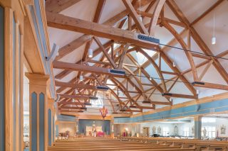 Trusses with steel tie rods in the church of the immaculate conception