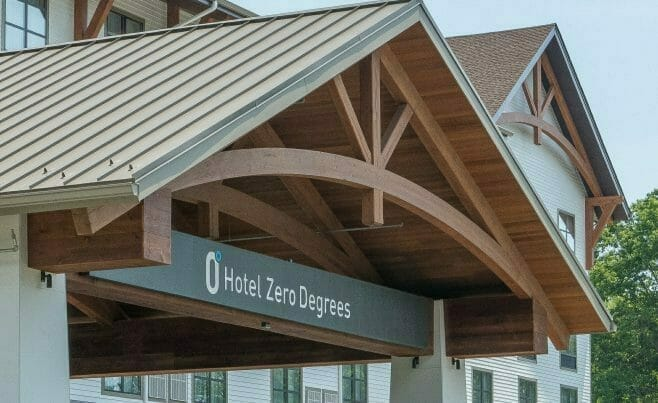 Heavy Timber Porte Cochere Entry Way at Hotel Zero Degrees in CT