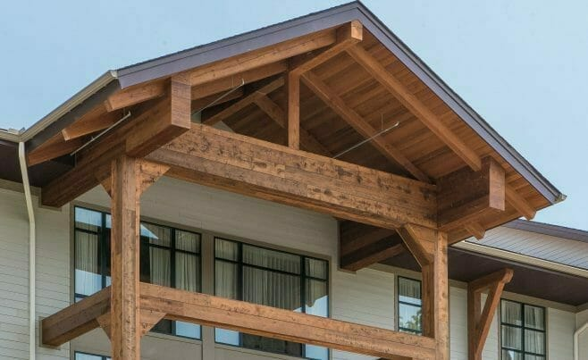 Heavy Timber detailing on the Exterior of Hotel Zero Degree in CT