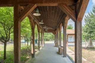 Weathered Timber Frame Walkway at Clay Pit Ponds