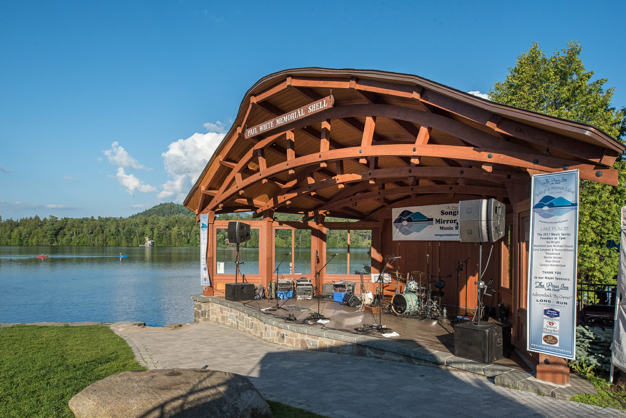 Douglas fir and Glulam Band Shell at Lake Placid in NY