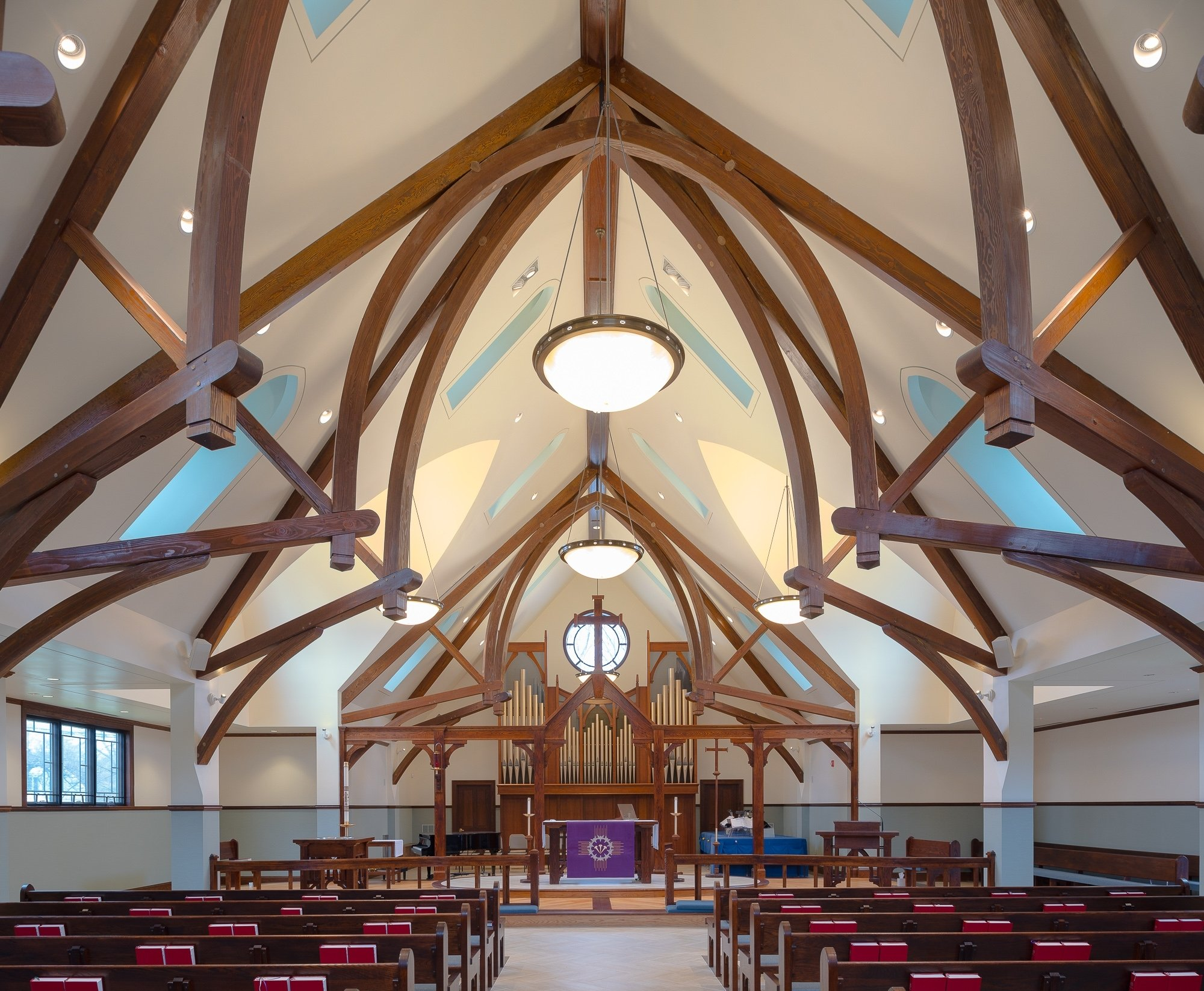 Arched Timber Trusses in Saint Andrew's Church in Ridgefield, CT.