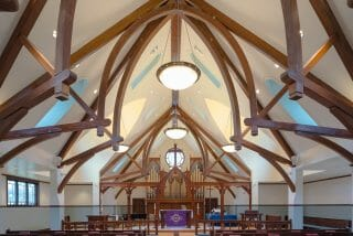 Interior of Saint Andrew's Church with Glulam Arched Trusses in Ridgefield, CT