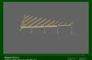 3D Model of the post and beams in the Magnet School dining cafeteria