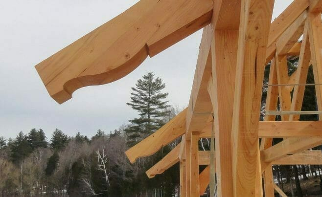 Rafter Scrolls on a Timber Frame Boat House