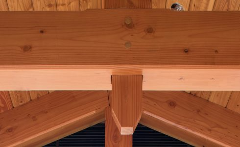 Douglas fir beams and trusses in the Port Society Complex. Close Truss detail.