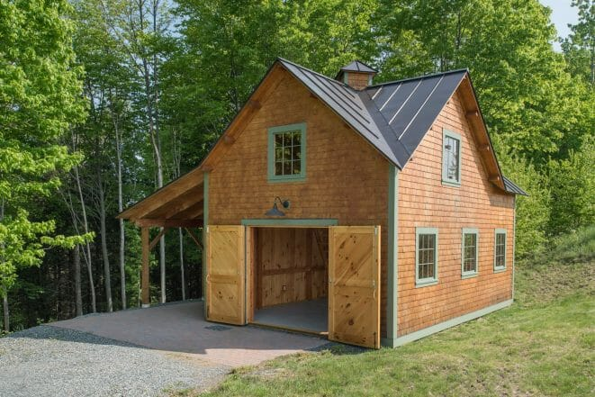 Exterior of the small timber framed Ox Hill Barn made with Douglas Fir and Glulam