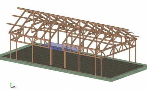 3D model of the timber frame design for The Golf Club at South River