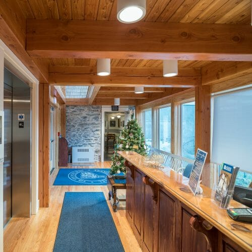 Douglas fir beams in the Port Society Complex