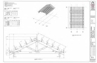 Plans for the design of the Timber Trusses in the Christina Seix Academy lounge area