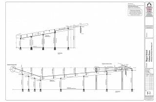Plans and drawings of the posts and beams in the Magnet School