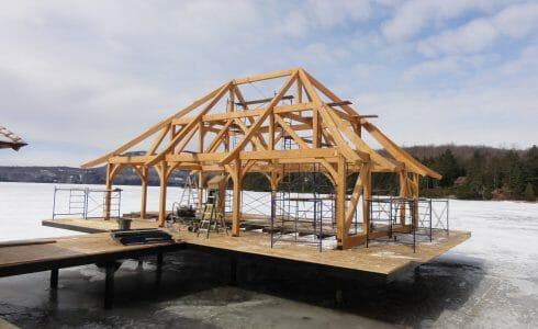 Rafter Scrolls on a timber framed boat house