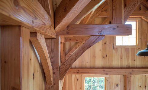 Ox Hill Barn in Vermont Fabricated from Glulam and Douglas Fir.