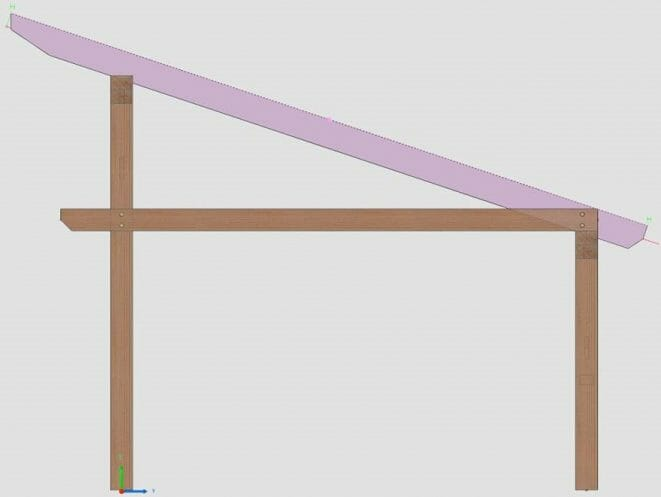 3D model of a sloped roof connection