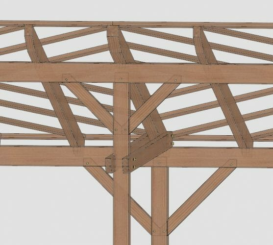 3D model of Timber Frame Porch Connection