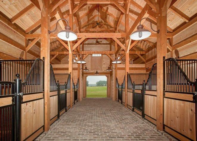 Timber Frame Horse Barn Aisle
